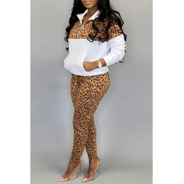 Lovely Leisure Leopard White Two-piece Pants Set
