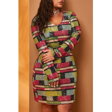 Lovely Casual Color-lump Patchwork Multicolor Knee Length Plus Size Dress