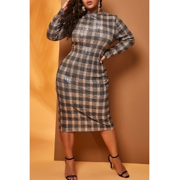 Lovely Casual Plaid Print Grey Knee Length Plus Size Dress