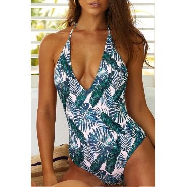 Lovely Print Green One-piece Swimwear