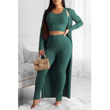Lovely Trendy Basic Skinny Green Three-piece Pants Set