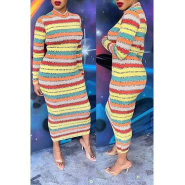 Lovely Casual Striped Skinny Multicolor Dress