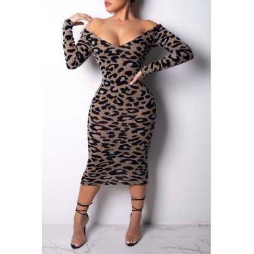 Lovely Leisure V Neck Leopard Mid Calf Dress