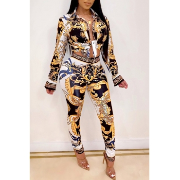Lovely Party Print Multicolor Two-piece Pants Set
