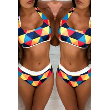 Lovely Geometric Print Multicolor Two-piece Swimsuit