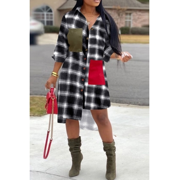 Lovely Chic Turndown Collar Plaid White Mid Calf Dress