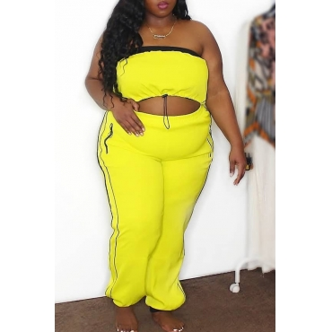 Lovely Casual Crop Top Yellow Plus Size Two-piece Pants Set
