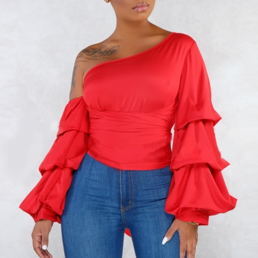 Lovely Casual Flounce Red Blouse