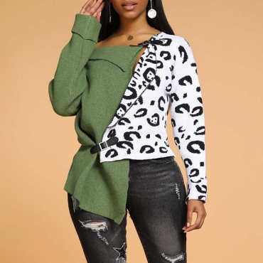 Lovely Casual Leopard Patchwork Green Sweater
