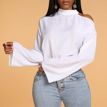 Lovely Chic Basic Hollow-out White Blouse