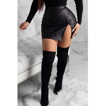 Lovely Trendy Slit Black PU Skirt