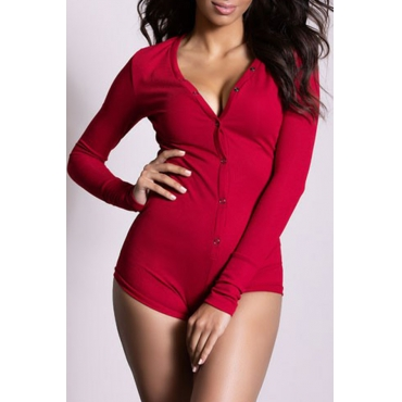 Lovely Casual Buttons Red One-piece Romper