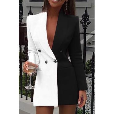 Lovely Work Turn-back Collar Patchwork Black Mini Dress