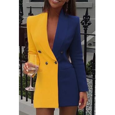 Lovely Work Turn-back Collar Patchwork Yellow Mini Dress