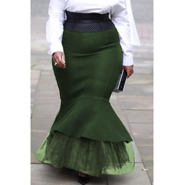 Lovely Sweet Flounce Green Plus Size Skirt