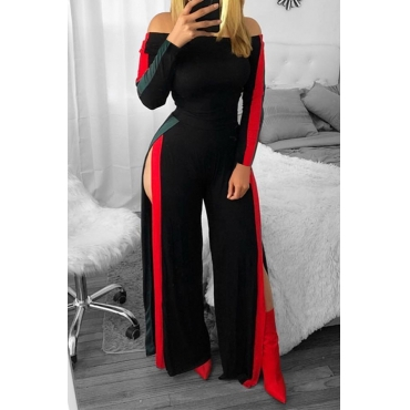 Lovely Trendy Side High Slit Black One-piece Jumpsuit