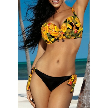 Lovely Lace-up Print Yellow Two-piece Swimsuit
