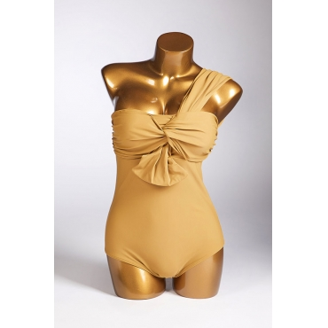 Lovely One Shoulder Yellow One-piece Swimsuit