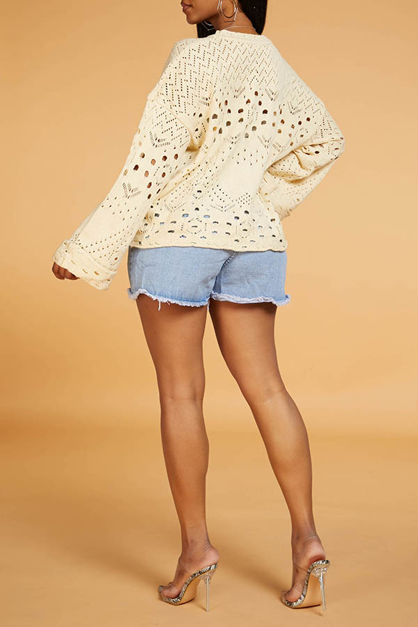 Lovely Chic Hollow-out White Sweater