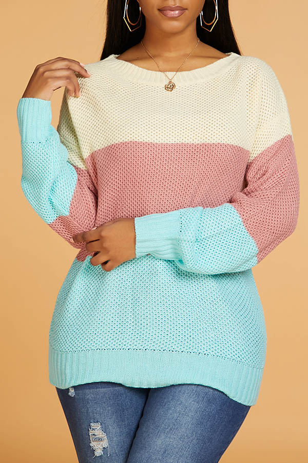 Lovely Leisure Color-lump Patchwork Multicolor Sweater