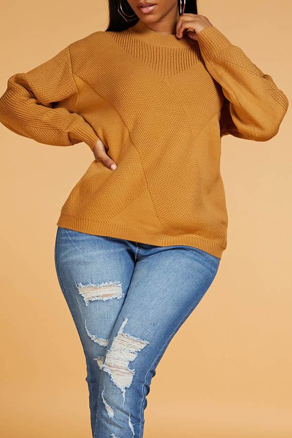 Lovely Leisure Basic Khaki Sweater