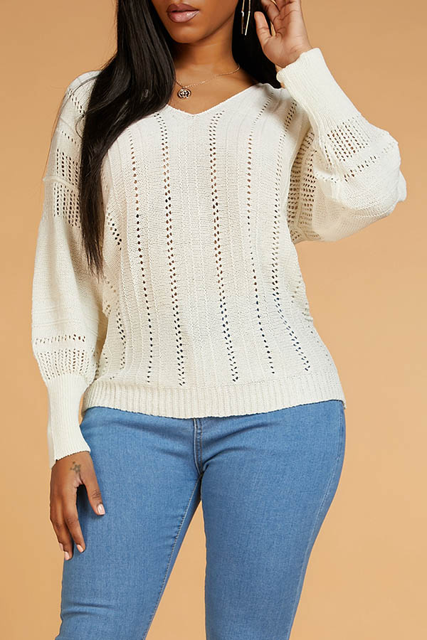 Lovely Leisure Hollow-out Beige Sweater
