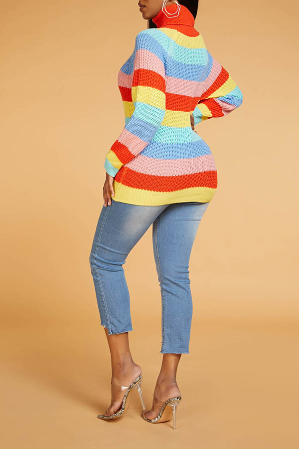 Lovely Chic Turtleneck Striped Multicolor Sweater