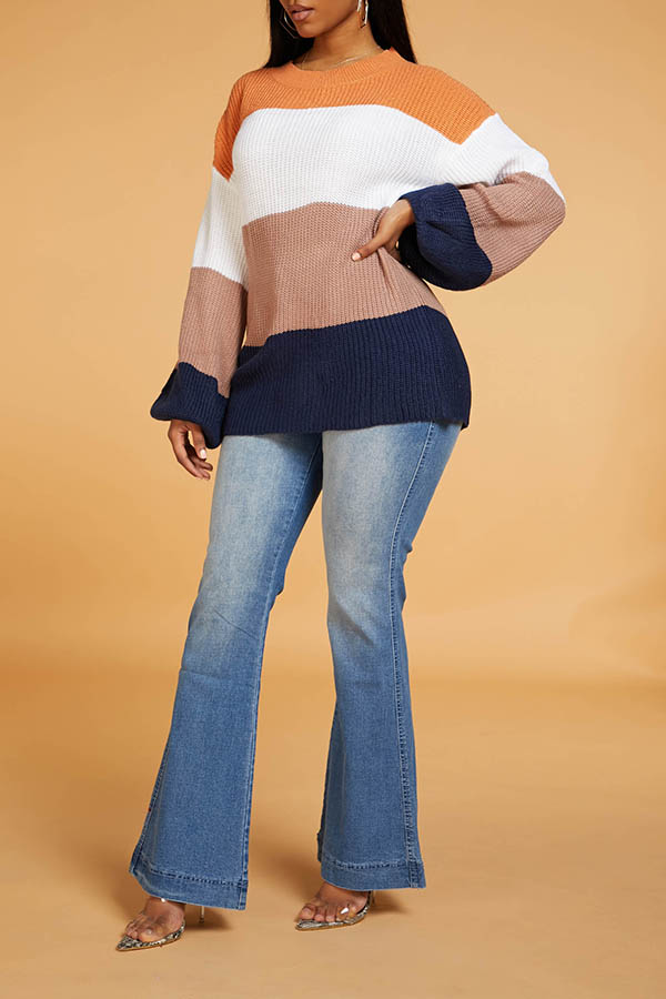 Lovely Chic Patchwork Multicolor Sweater
