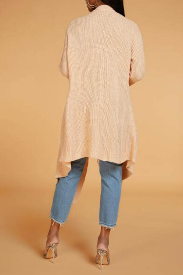 Lovely Leisure Turndown Collar Apricot Cardigan