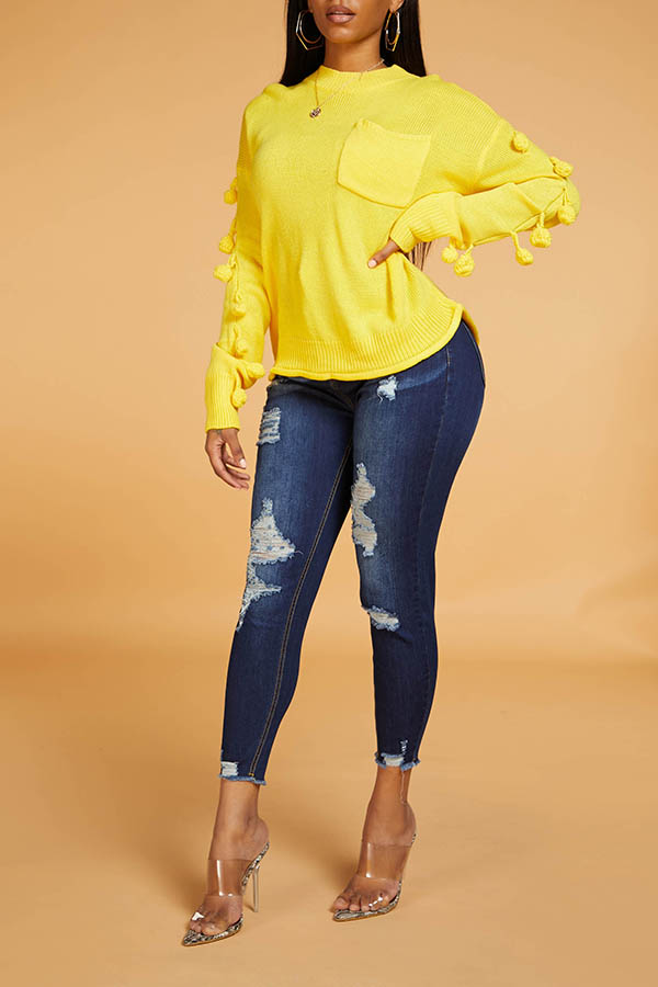 Lovely Chic O Neck Ball Design Yellow Sweater