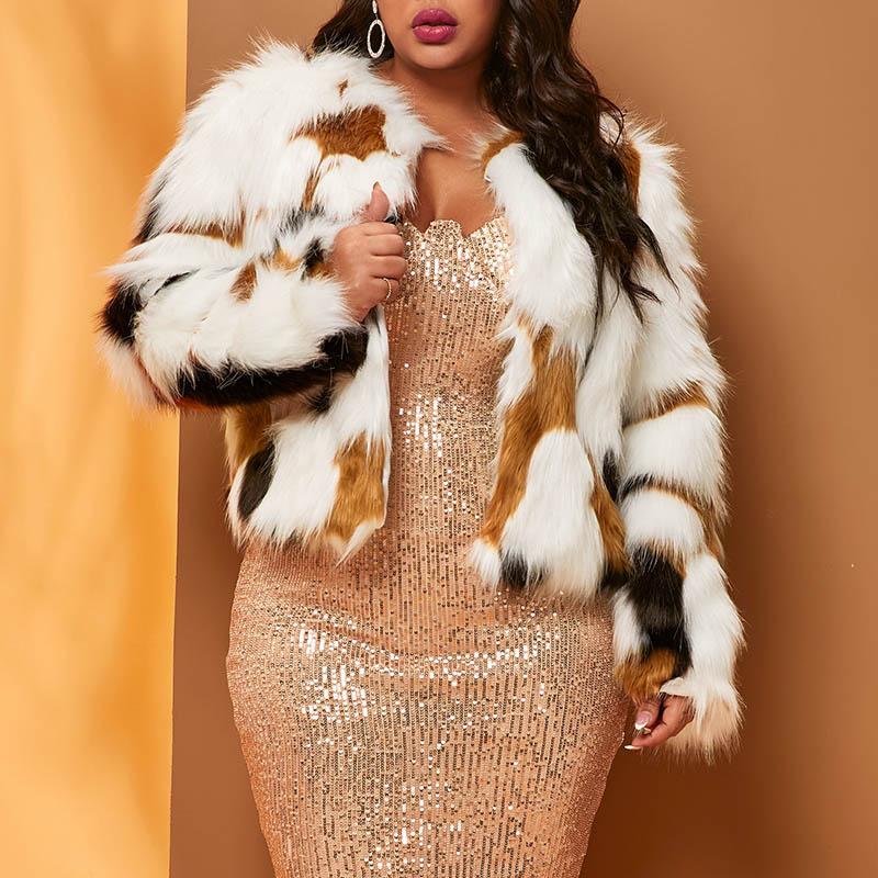 Lovely Stylish Patchwork Multicolor Faux Fur Plus Size Coat