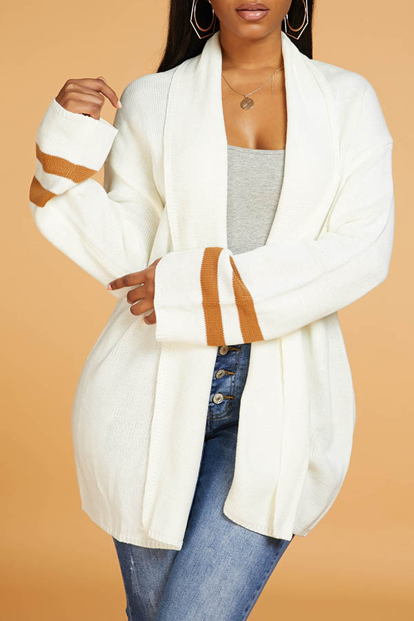 Lovely Chic Striped White Cardigan