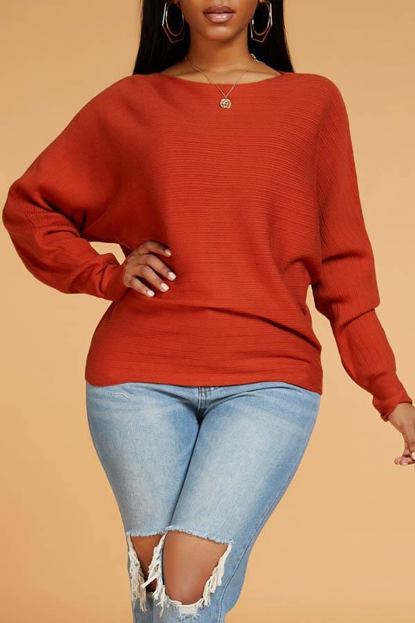 Lovely Casual Basic Jacinth Sweater