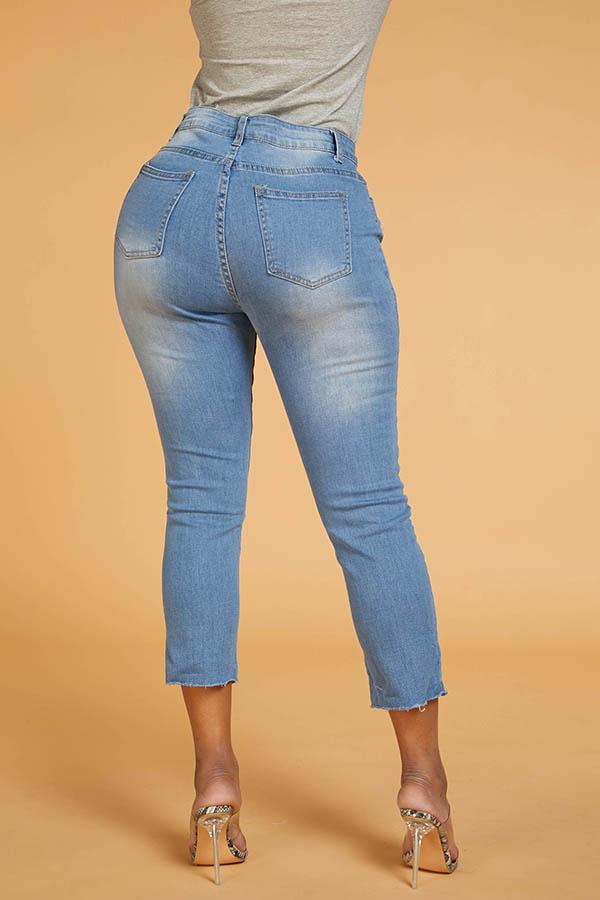 Lovely Chic Irregular Hems Baby Blue  Jeans