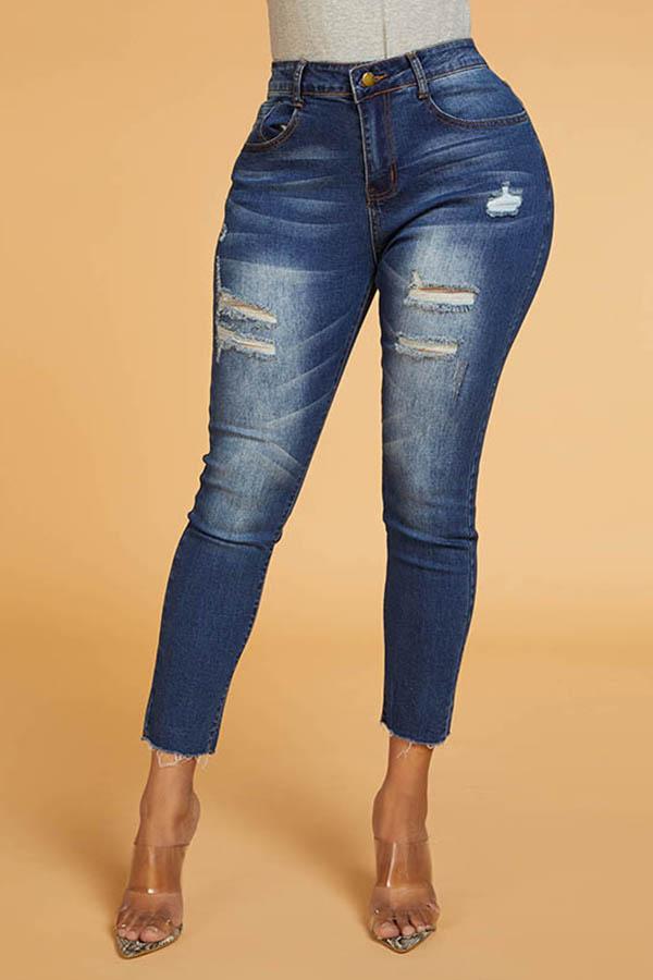 Lovely Chic Broken Holes Blue Jeans