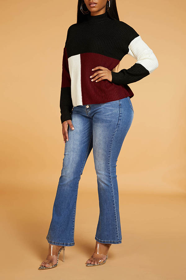 Lovely Leisure Patchwork Wine Red  Sweater