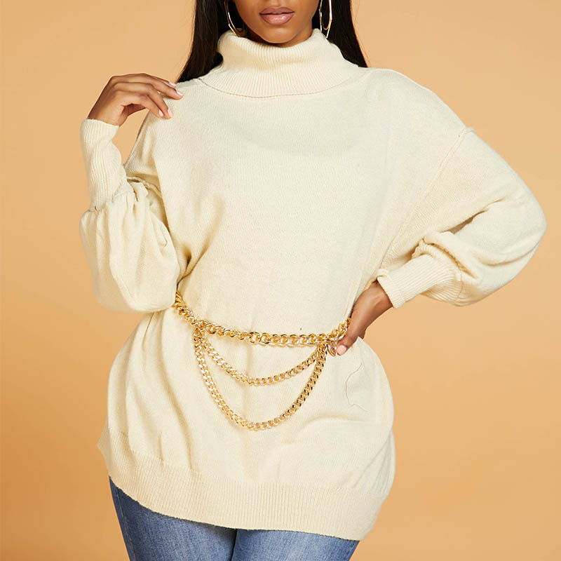 Lovely Casual Turtleneck Apricot Sweater