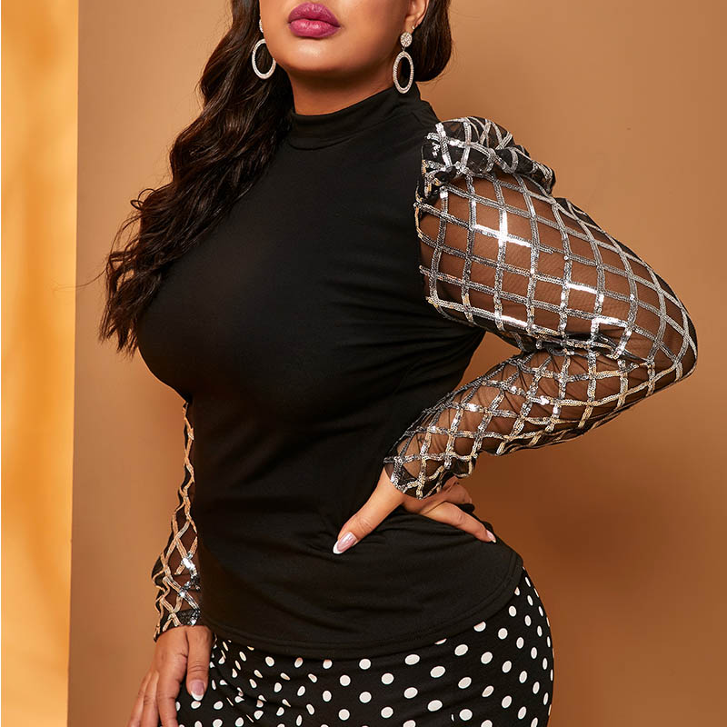 Lovely Casual Turtleneck Patchwork Silver Plus Size Blouse