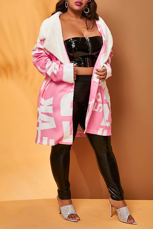 Lovely Casual Letter Light Pink Winter Plus Size Coat
