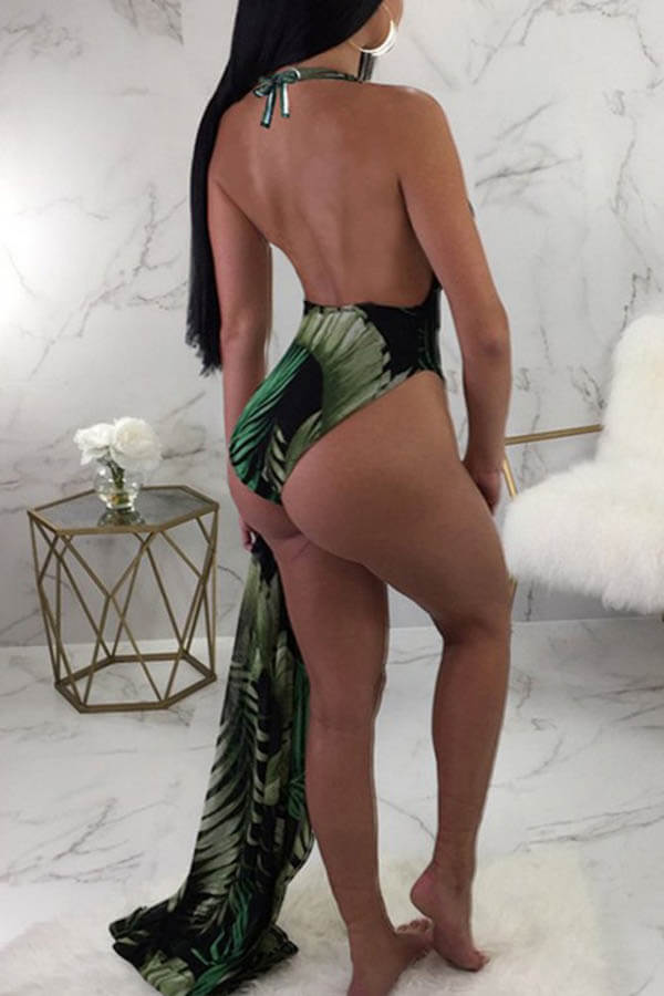 Lovely Sexy Print Blackish Green One-piece Swimsuit (With Cover-up)