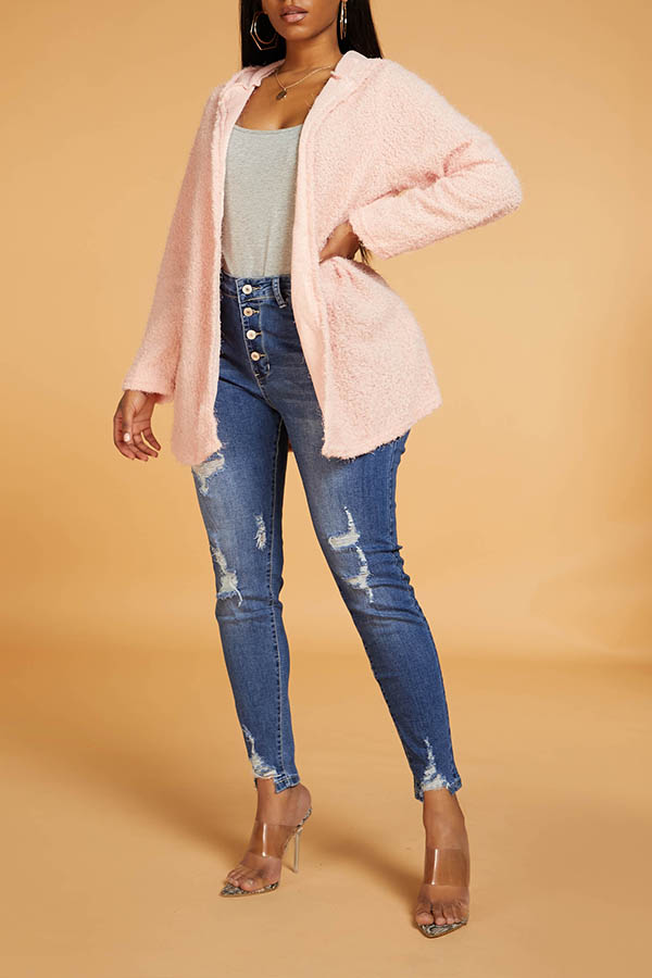 Lovely Casual Hooded Collar Pink Cardigan