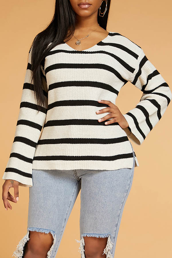 Lovely Casual Striped Black Sweater