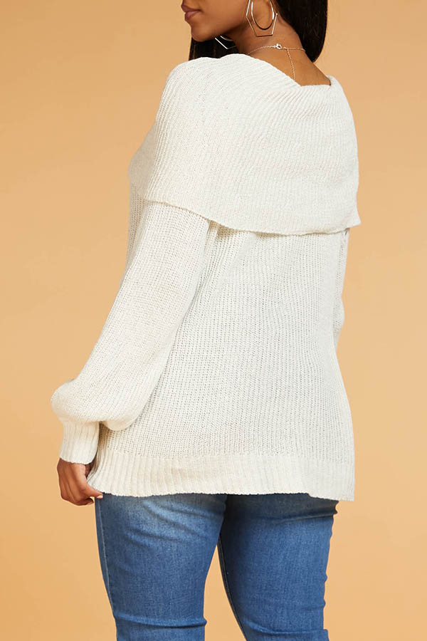 Lovely Leisure O Neck Patchwork Creamy White Sweater