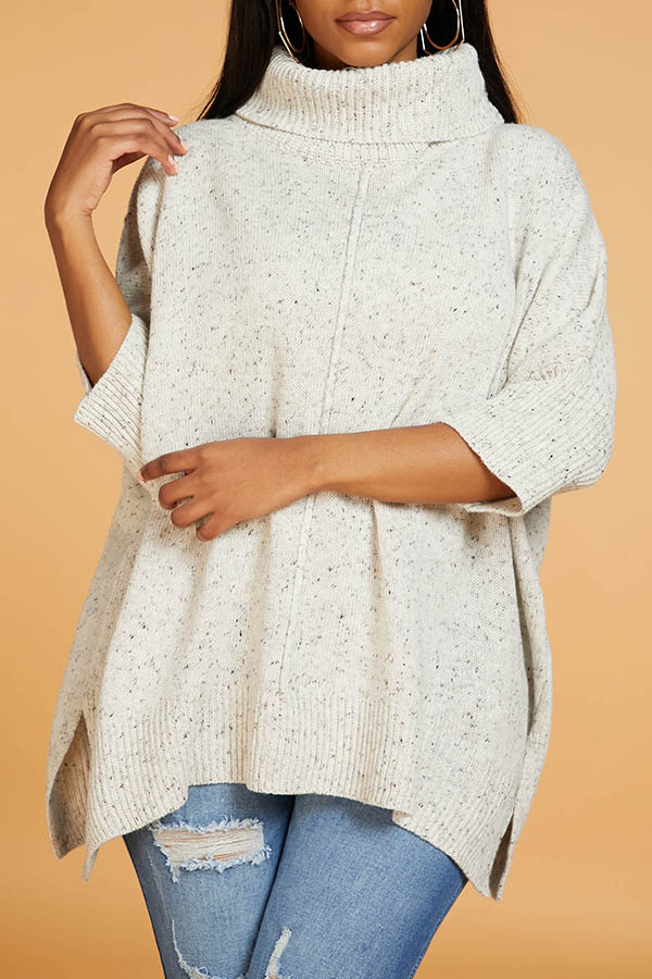 Lovely Casual Turtleneck Side Slit Apricot Sweater