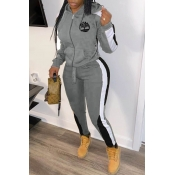 Lovely Sportswear Hooded Collar Patchwork Grey Two