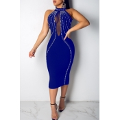 Lovely Sexy O Neck See-through Blue Mid Calf Dress