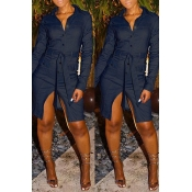 Lovely Casual Turndown Collar Button Blue Knee Len