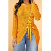 Lovely Trendy Bandage Design Yellow Sweater