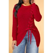 Lovely Trendy Bandage Design Red Sweater