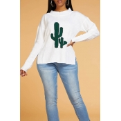 Lovely Chic Cactus Shape Design White Sweater